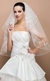 Two-tier Elbow Pencil Edge Wedding Veil With Applique