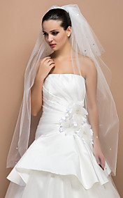 Three-tier Fingertip Cut Edge Wedding Veil With Rhinestone