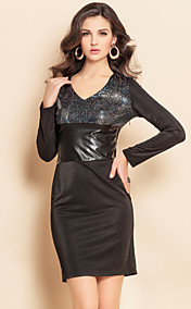 TS Trendy Fabrics Splicing Sequin Long Sleeve Sheath Dress
