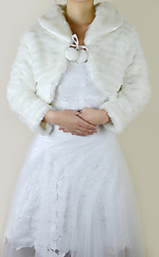 Long Sleeve Faux Fur Evening/Wedding Jacket/Wrap