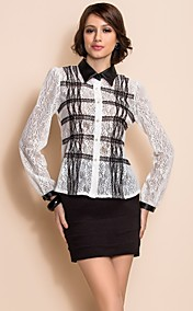 TS Black And White PU Collar Lace Shirt