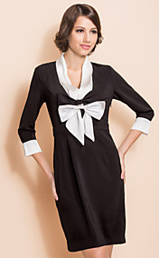 TS Black And White Contrast Bow Front Sheath Dress