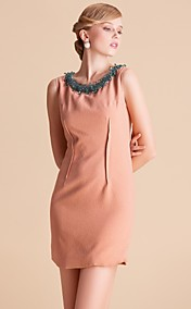 TS Handmade Beads Round Neck Vest Sheath Dress
