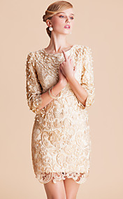 TS High End Handmade Beads Lace Half Sleeve Dress