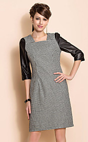 TS Slimplicity PU Sleeve Houndstooth Sheath Dress