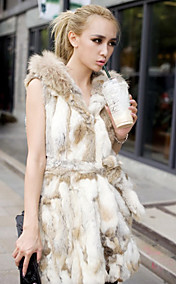 Bela capa Rabbit Fur Vest Casual / Festa
