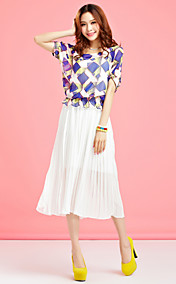 TS Contrast Color Print Midi-Kleid
