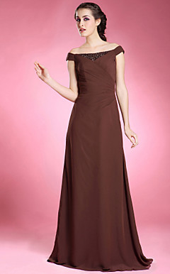 A-line Off-the-shoulder Floor-length Chiffon Mother of the Bride Dress