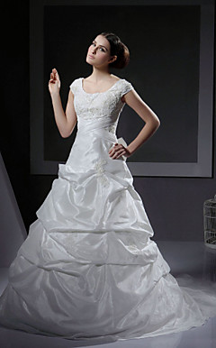 A-line / Princess Princess Scoop Court Train Taffeta Wedding Dress With Beaded Appliques