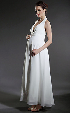 Sheath/ Column Empire Halter Ankle-length Chiffon Maternity Wedding Dress