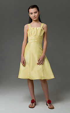 A-line Straps Knee-length  Taffeta Junior Bridesmaid Dress