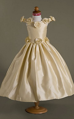 Ball Gown Off-the-shoulder Floor-length Taffeta Flower Girl Dress