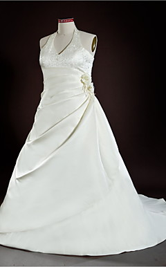 A-line Halter Court Train Satin Plus Size Wedding Dress