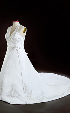 A-line Halter Chapel Train Satin Plus Size Wedding Dress