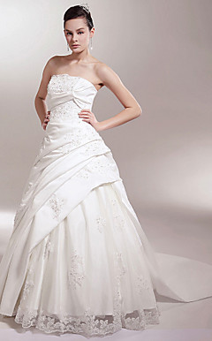 A-line/Princess Strapless Chapel Train Satin Luxury Wedding Dress With Beaded Lace Appliques