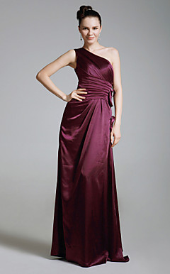 Sheath/ Column One Shoulder Floor-length Charmeuse Bridesmaid/ Wedding Party Dress