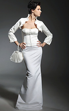 Trumpet/Mermaid Sweetheart Floor-length Satin Wedding Dress With Long Sleeve Wrap