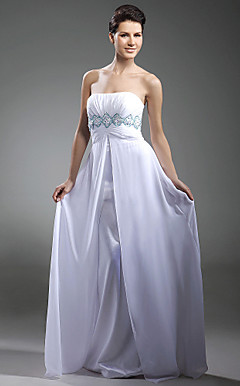 Sheath/ Column Strapless Floor-length Chiffon Evening Dress