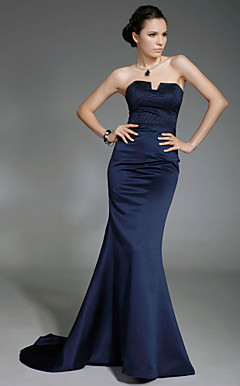 Trumpet/Mermaid Strapless Sweep/Brush Train Satin Evening Dress inspired by Lisa Rinna at Oscar