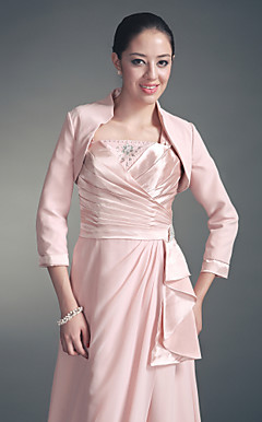 3/4-length Sleeves Chiffon Satin Special Occasion Jacket/ Wedding Wrap