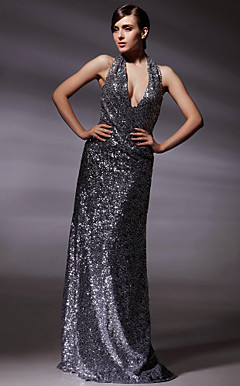 Sequined Fabric Sheath/ Column V-neck Floor-length Evening Dress inspired by Olivia Wilde at Golden Globe