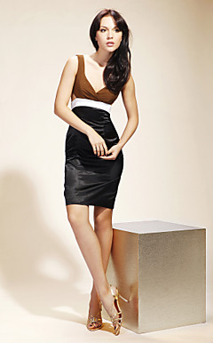 Chiffon Satin Sheath/ Column V-neck Short/ Mini Cocktail Dress inspired by Serena in Gossip Girl