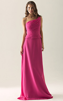 Sheath/ Column One Shoulder Floor-length Chiffon Over Satin Separate Bridesmaid/ Wedding Party Dress