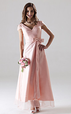 A-line V-neck Ankle-length Organza Bridesmaid/Wedding Party Dress