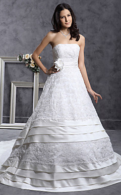 A-line Strapless Chapel Train Satin Tiered Wedding Dress With Beaded Appliques