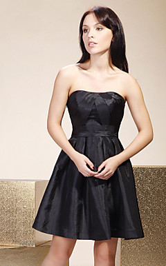 A-line Strapless Short/  Mini Taffeta Bridesmaid/ Little Black/ Wedding Party/ Homecoming Dress