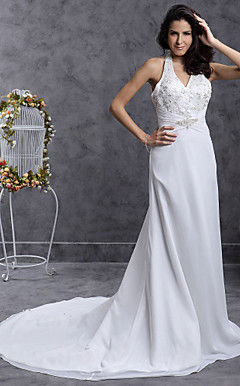 Chiffon Sheath/Column Wedding Dress with Beaded Embroidered and Button Back