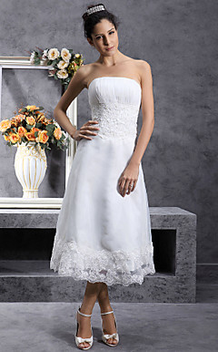 A-line Strapless Tea-length Organza Wedding Dress