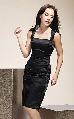 Sheath/Column Square Knee-length Stretch Satin Bridesmaid/Wedding Party Dress