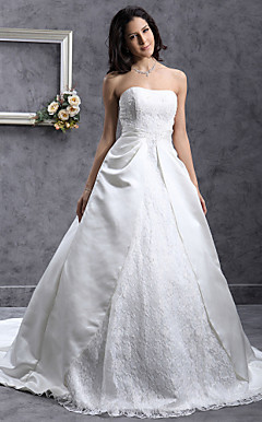 A-line Sweetheart Chapel Train Satin Lace Wedding Dress with Split Front
