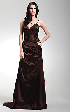 Sheath/Column Spaghetti Straps Sweep/Brush Train Stretch Satin Evening/Prom Dress