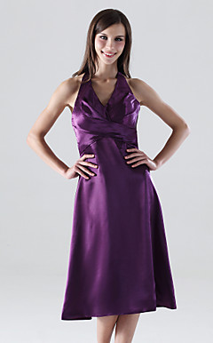 A-line Halter Tea-length Stretch Satin Bridesmaid/Wedding Party Dress