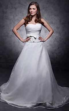 A-line Sweetheart Organza Over Satin Court Train Wedding Dress