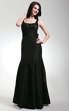 Trumpet/Mermaid Square Floor-length Taffeta Bridesmaid/Wedding Party Dress