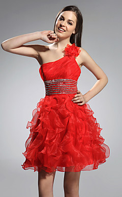 Ball Gown One Shoulder Short/ Mini Organza Stretch Satin Cocktail Dress