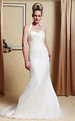 Trumpet/Mermaid Halter Sweep/Brush Train Satin Organza Wedding Dress