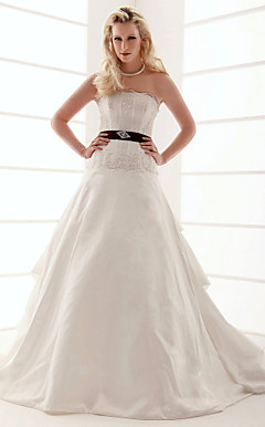 A-line Scalloped- Edge Neckline Court Train Taffeta Pick-up Wedding Dress