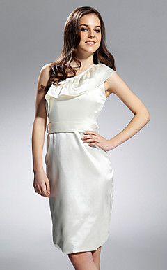 Sheath/Column One Shoulder Knee-length Stretch Satin Bridesmaid/Cocktail Dress