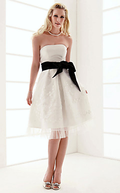 A-line Strapless Knee-length Organza Over Satin Wedding Dress