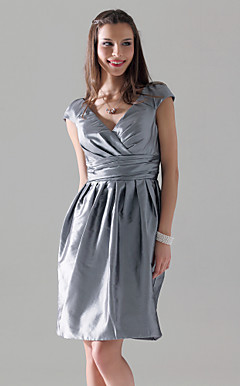 Sheath/Column V-neck Short Sleeve Knee-length Taffeta Bridesmaid Dress