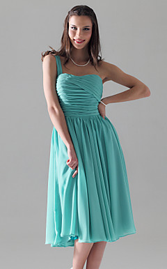 A-line One Shoulder Chiffon Knee-length Bridesmaid/Homecoming Dress