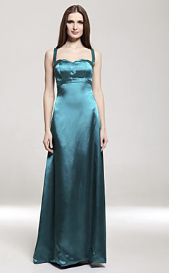 Empire Spaghetti Straps Floor-length Stretch Satin Bridesmaid/ Wedding Party Dress