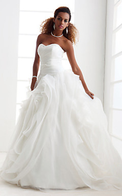 Ball Gown Strapless Sweetheart Court Train Organza Wedding Dress
