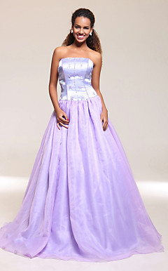 Ball Gown Strapless Floor-length Satin/Organza Prom/Evening Dress