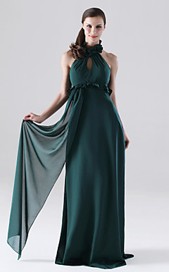 Sheath/ Column Halter Floor-length Chiffon Bridesmaid Dress