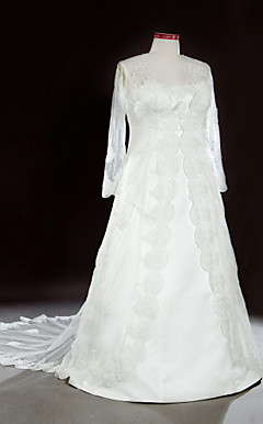 A-line Chapel Train Lace Satin Plus Size Wedding Dress